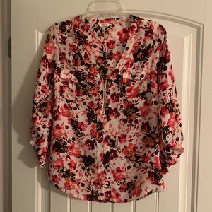 Small Candies Floral Zip Blouse Pink Red Shirt